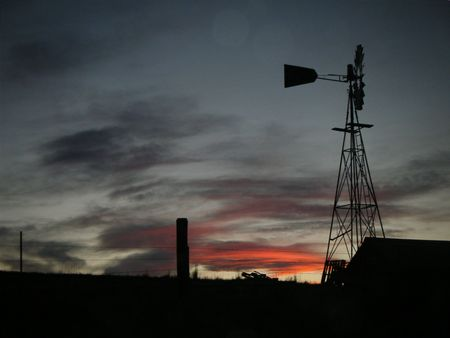 Country Windmill at sunset Banco de Imagens