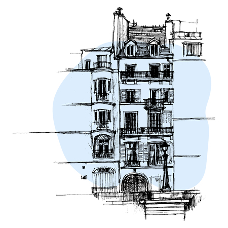 Hand drawn Paris house, urban sketch style vector illustration isolated on blue background. Sketch style drawing of historical Parisian house, building, townhouse Ilustrace