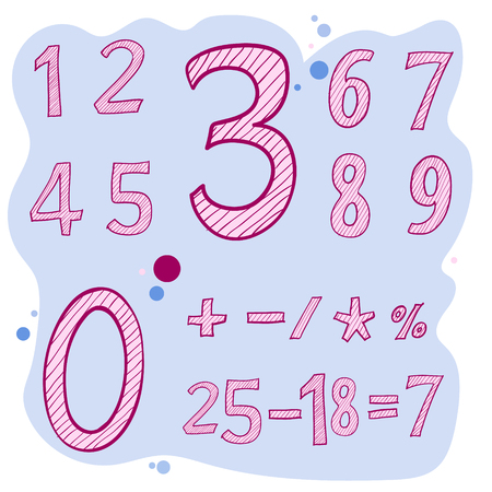 Drawing lettering, Vector set of calligraphic acrylic numbers. Numbers for your design