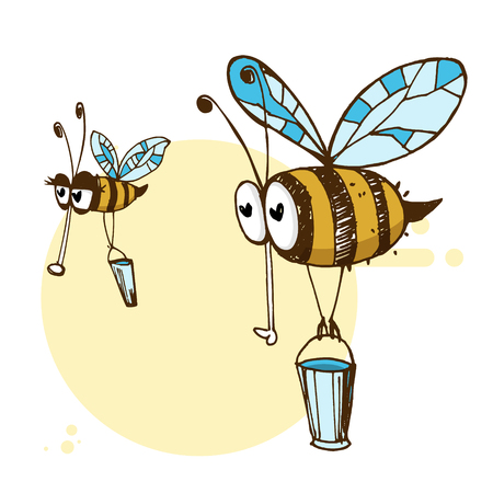 Illustration of funny flying bees carrying buckets Illustration
