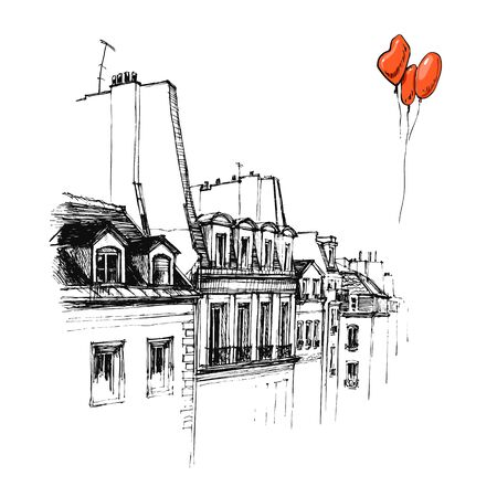 french culture: Hand drawn Roof of Paris, urban sketch style vector illustration isolated on white background. Sketch style drawing of historical Roof of Paris with red balloons, building, townhouse Illustration
