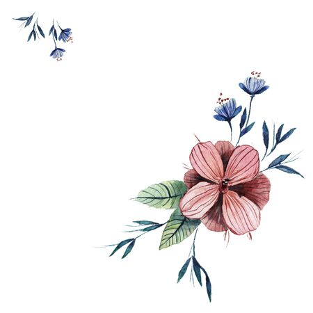 Hand drawn watercolor flowers on a white background. Watercolor texture Stock Photo