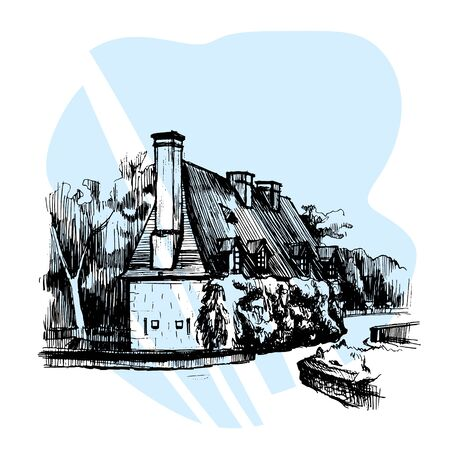 Hand drawn sketch House near Chateau de Chenonceau, Loire Valley, France. Vector illustration