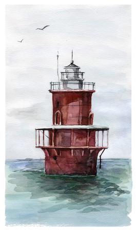 Watercolor light house illustration Standard-Bild