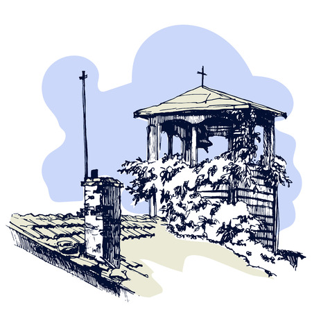 Old Roof with bell tower in a village. Vector illustration