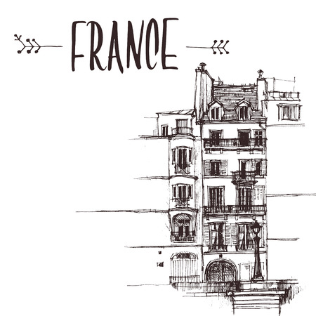 Hand drawn Paris house, townhouse urban sketch. Hand-drawn book illustration, touristic postcard or poster template in vector Ilustrace