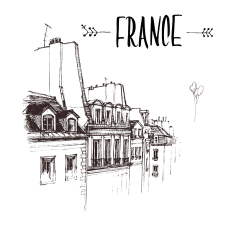 Hand drawn The Roof of Paris, roof urban sketch. Hand-drawn book illustration, touristic postcard or poster template in vector Illustration
