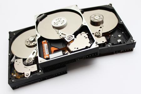 En el interior abierto disco duro Unidad de disco duro Foto de archivo