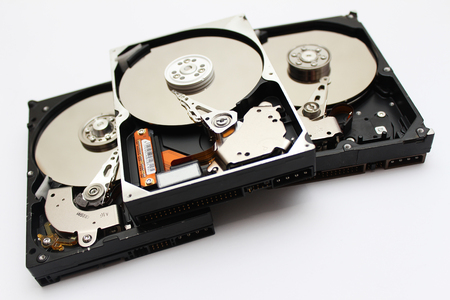 disks: Inside Opened Hard Disk Drive hdd Stock Photo