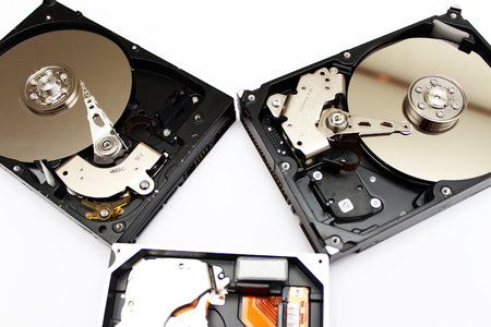 harddrive: Inside Of Internal Harddrive Hdd On White Background Stock Photo