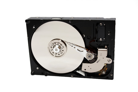 hdd: Inside Opened Hard Disk Drive hdd Stock Photo