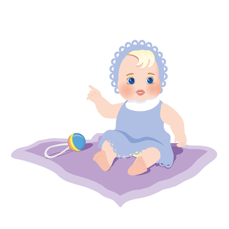 cheerfully: A child with the rattle. Vector illustration Illustration