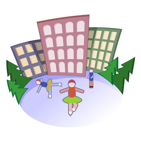 go for: People go for skating. Vector illustration