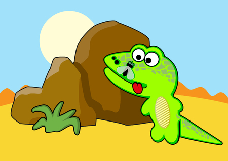 species of creeper: Lizard near the stone. Vector illustration Illustration