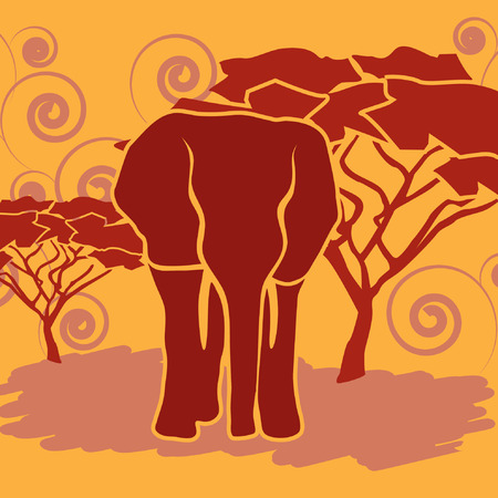 sunset tree: Elephant in African savanna. Vector illustration