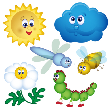 Illustration of set of bugs. Cartoon vector illustration. Vector illustration