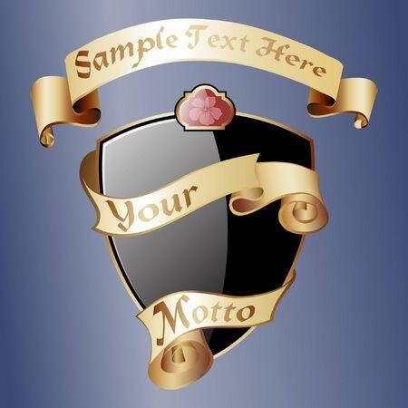 gilt: Black royal coat of arms with gold ribbons. Classic royal emblem. Heraldry. Design element.Vector illustration