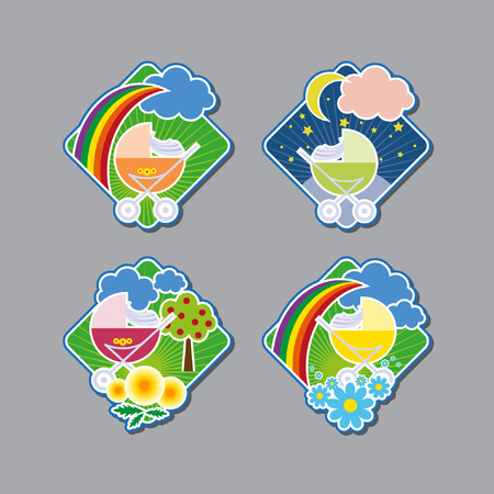 prams: Emblems with cheerful prams. Vector illustration Illustration