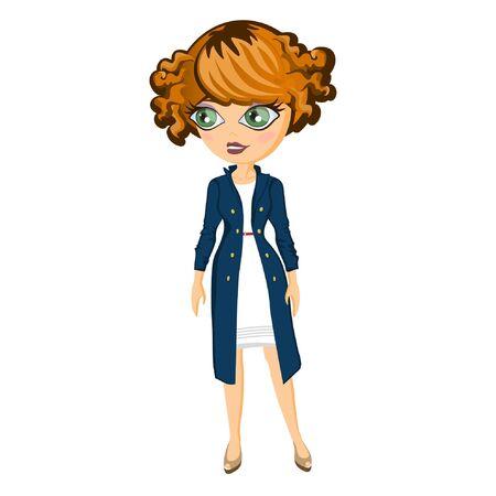 back belt: Fashion city girl in coat and dress with belt. Vector illustration Illustration