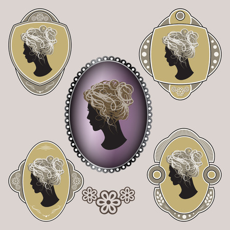 cameo: Cameo. Ornate labels with female profile. Vector illustration