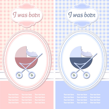 arrival: Baby arrival announcement card. Vector illustration