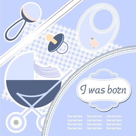 promenade: Baby boy announcement card. Vector illustration Illustration