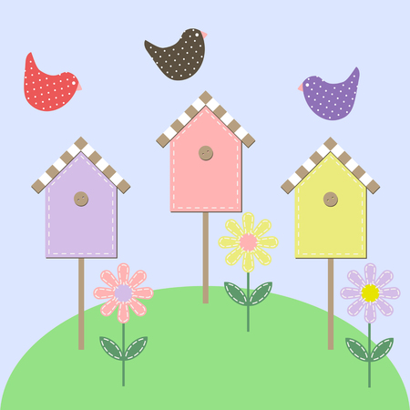 starling: Birds over the starling houses. Vector illustration