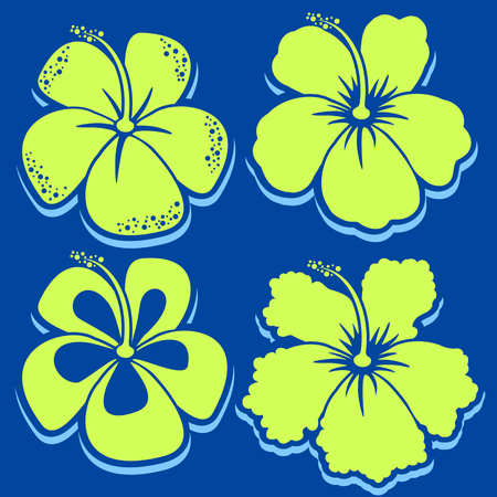Vector Flower. Hibiscus Collection. Vector illustration