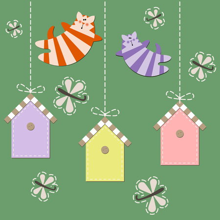 tipsy: March cats fly over starling houses. Vector illustration Illustration