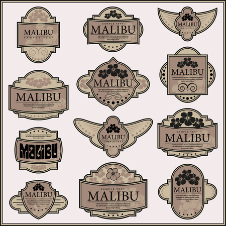 art deco border: Set of ornate labels. Vector illustration