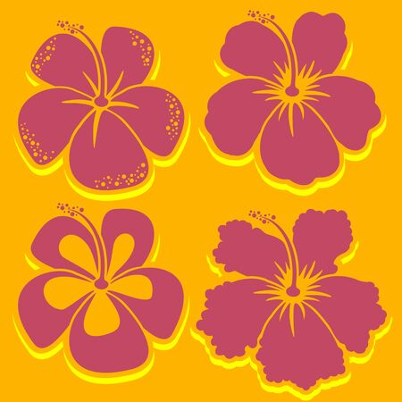 hawaiian flower: Hibiscus Collection in red. Vector illustration