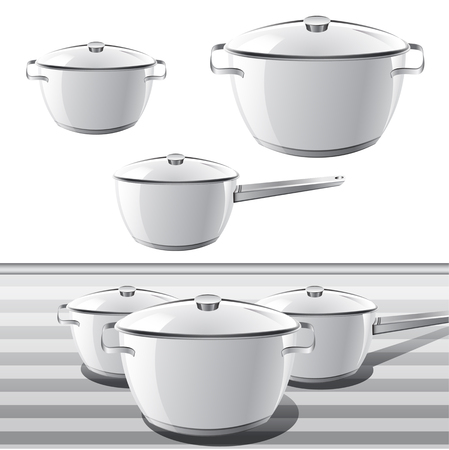 pots: Set of Pan. Vector illustration