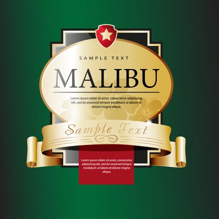 malibu: Ornate labels Malibu. Vector illustration Illustration