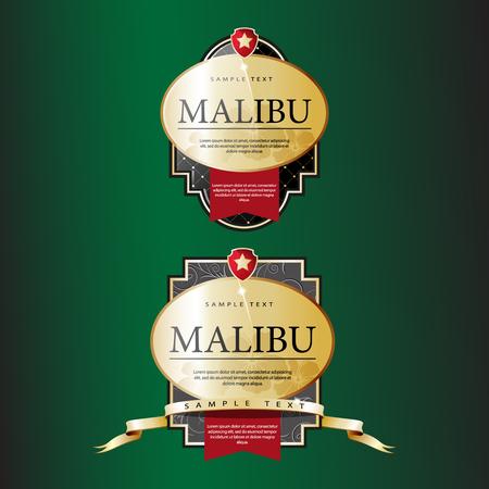 malibu: Ornate labels Malibu with Red Tapes. Vector illustration