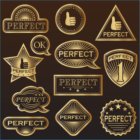perfect: Gold Labels Perfect. Vector illustration