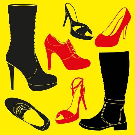 loafer: Different kinds of shoes. VEctor illustration
