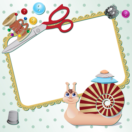 Frame with snail the seamstress with scissors, a pillow, a pin, buttons, threads. Vector illustration