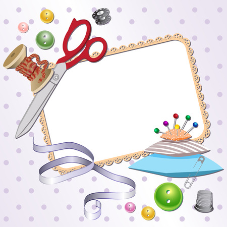 bombshell: Frame with scissors, a pillow, a pin, buttons, threads. Vector illustration