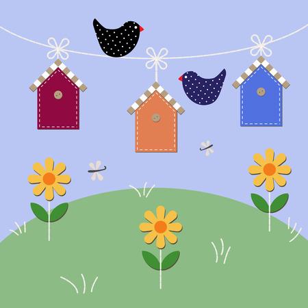 Starlings fly over houses. Vector illustration Illustration