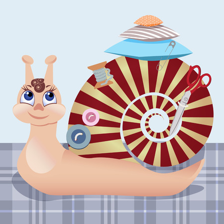 bombshell: Snail the seamstress with scissors, a pillow, a pin, buttons, threads. Vector illustration Illustration