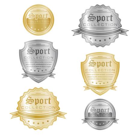 international basketball: Vector set of gold and silver sport emblems.
