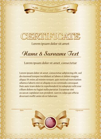 grouped: Gold certificate template. Vector illustration. Grouped for easy editing.