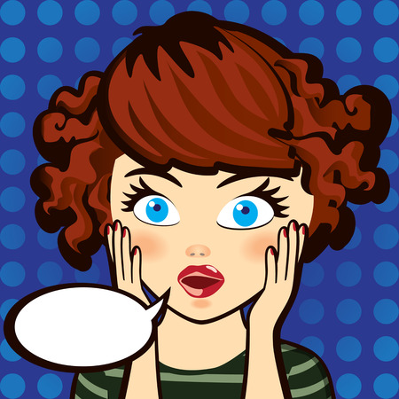 showgirl: Emotion. Surprised brunette woman. Expression, look and word. Cartoon vector illustration. Grouped for easy editing.