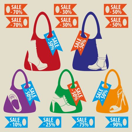 loafer: Vector set of colored emblems with different kinds of footwear. badges and labels. Grouped for easy editing.