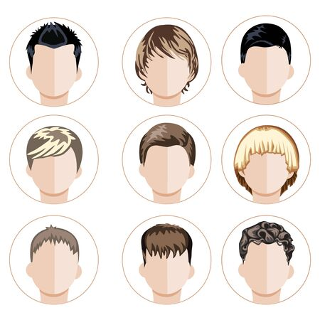 foetus: Set of boys faces. Flat vector illustration. Grouped for easy editing.