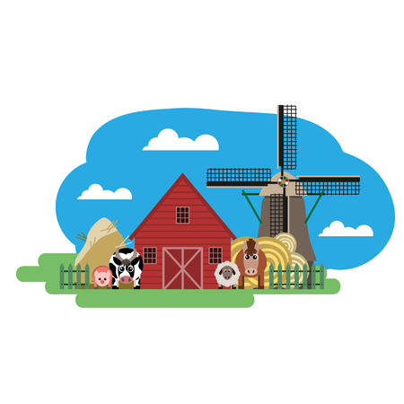 house donkey: Vector illustration of farm animals and related items. Grouped for easy editing. Illustration