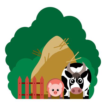農場の動物と関連アイテムのベクトル図です。編集しやすくまとめられています。