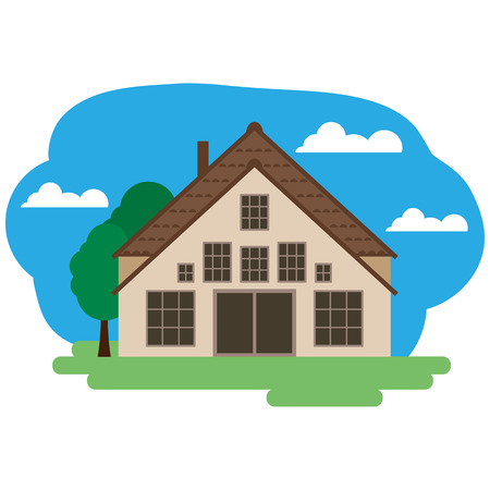Vector illustration of farmhouse. Grouped for easy editing.  イラスト・ベクター素材