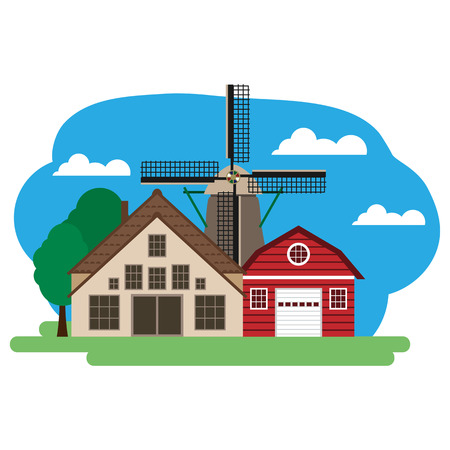 Vector illustration of farm building and related items. Grouped for easy editing.  イラスト・ベクター素材