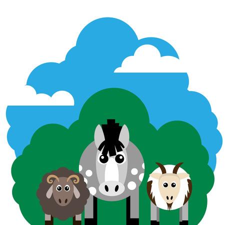 農場の動物と関連アイテムのベクトル図です。馬、羊、ヤギ。編集しやすくまとめられています。
